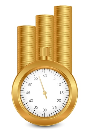 El tiempo es oro - ilustración del vector de las monedas de oro y cronómetro Ilustración de vector