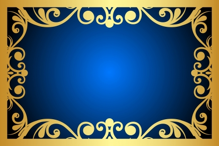 Vector floral blue and gold frame Stock Vector - 15210689