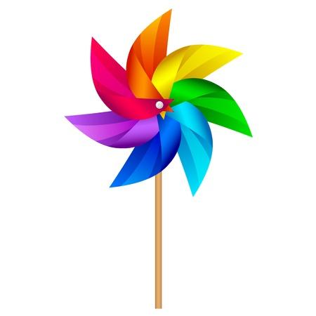 MOLINOS DE VIENTO: Ilustración vectorial de molino de viento de juguete