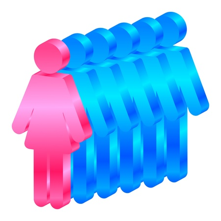 3d manager: Vector icon of woman leads men Illustration