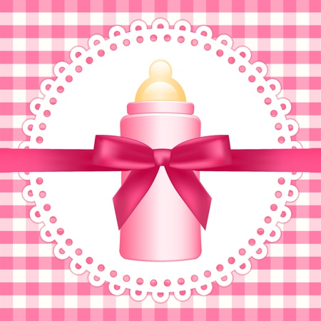 Vector pink background  with baby bottle Vector