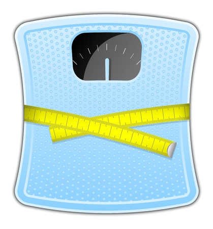 anorexia: Vector illustration of blue bathroom scale with measuring tape