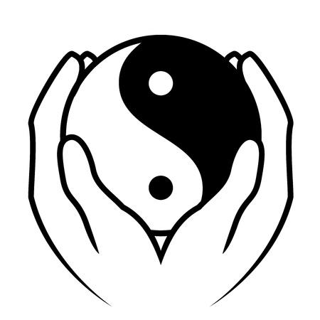 Ilustración de vector de manos sosteniendo el símbolo de yin yang