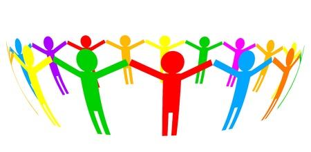 companionship: Vector icono - la gente en círculo