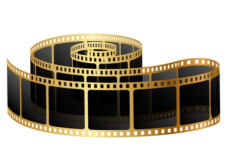 negative: Vector illustration of golden film Illustration