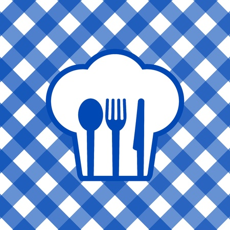 chef s hat: Vector illustration of blue and white tablecloth Illustration