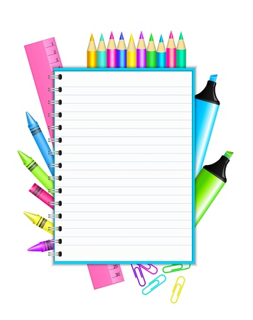 art supplies:  Back to school   - vector frame with colorful stationery