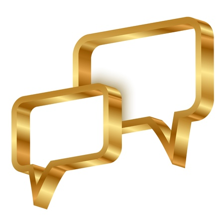 inform information: Vector illustration of 3d gold speech bubbles