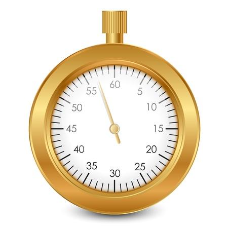 gold watch: Vector illustration of gold stopwatch Illustration
