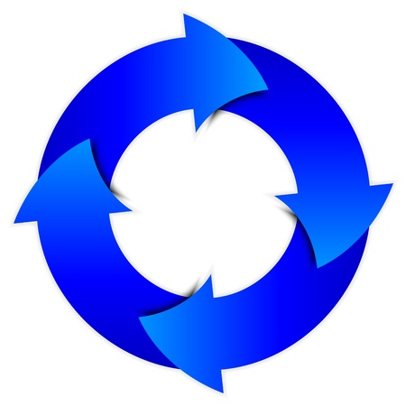 circular flow:  blue arrows circle Illustration