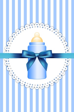 background with baby bottle and bow Vector