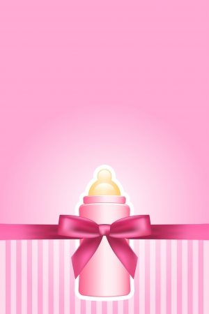baby with bottle: pink background with bow and baby bottle