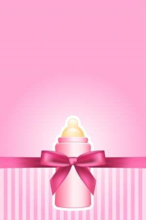 rosa Hintergrund mit Bogen und Babyflasche