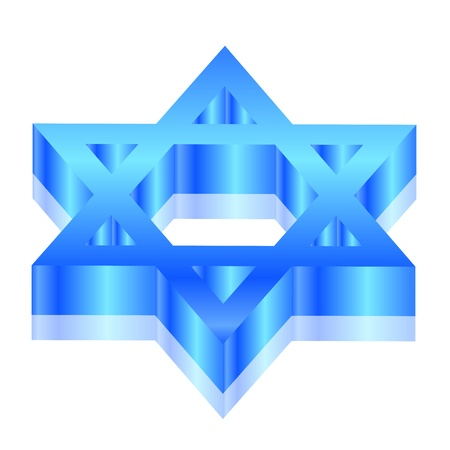 david:  3d illustration of Magen David  star of David