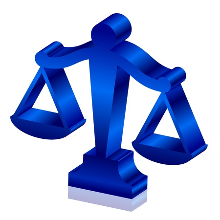 scales of justice:  3d icon of justice scales