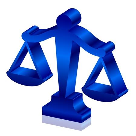 estatua de la justicia: 3d icono de las escalas de la justicia