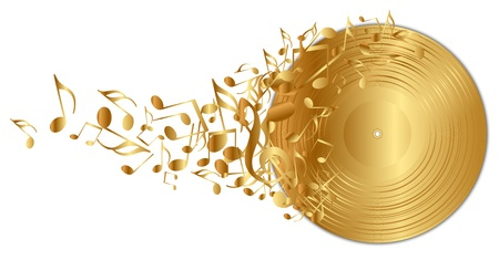 gold record: illustration of golden vinyl record with notes