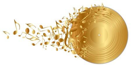 nota musical: ilustración del disco de vinilo dorado con notas