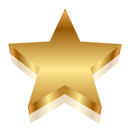 3d illustration of gold star Vector