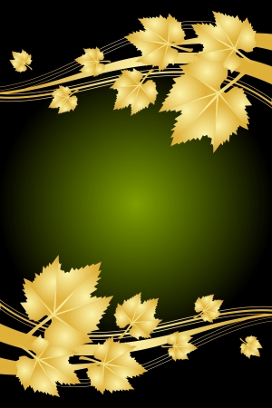 green and gold: autumn green and gold frame Illustration