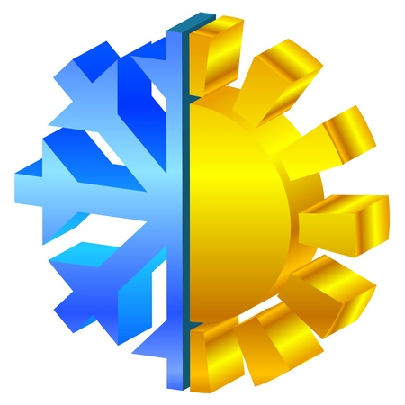 cold climate: illustration of sun   snowflake icon Illustration