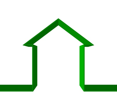 realestate: green house icon Illustration