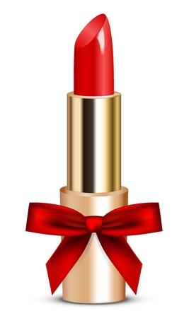 illustration de rouge à lèvres rouge avec un arc Vecteurs