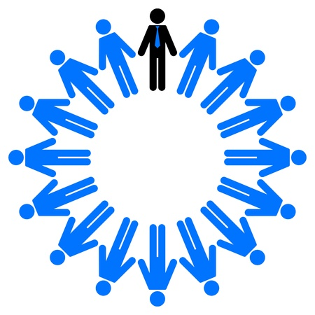 worker person: illustration of employees and manager  in circle
