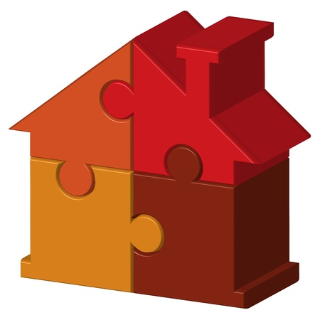illustration of house from puzzles Stock Vector - 15766903