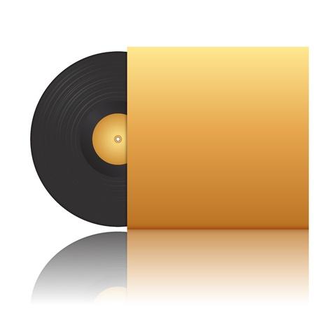 record player: illustration of vinyl record in envelope