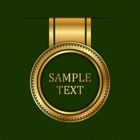 gold label on green background Vector