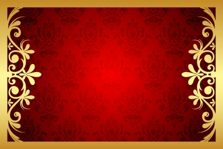 red rug: gold and red floral frame