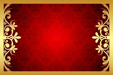 Marco floral del oro y rojo Ilustración de vector