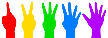 five fingers: illustration of colorful counting hands