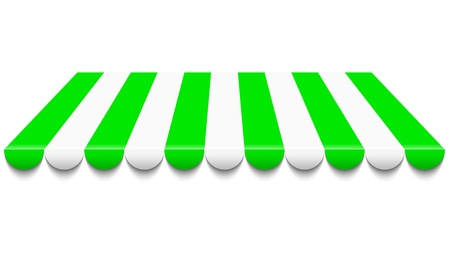 awning: illustration of green and white awning