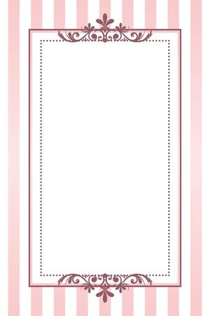 cartoline vittoriane: vintage frame strisce rosa