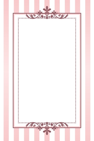 victorian border: vintage pink striped frame Illustration