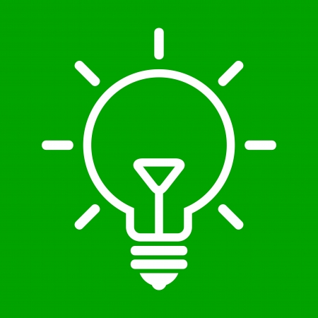 glowing light bulb: illustration of bulb on green background