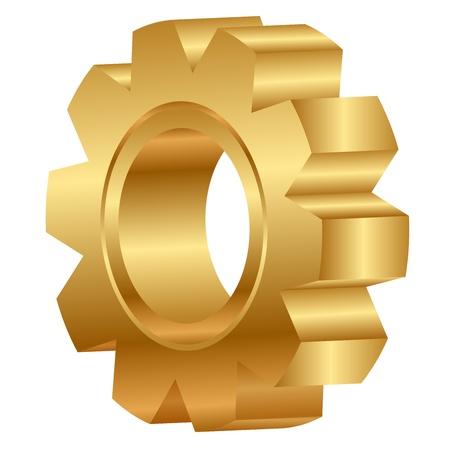 3D-afbeelding van gouden tandwiel