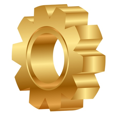gear motion: 3d illustration of golden cog wheel Illustration