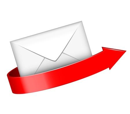 알림: 봉투와 빨간색 화살표 그림