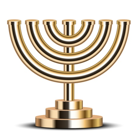 jewish ethnicity: illustration of gold menorah  emblem of Israel