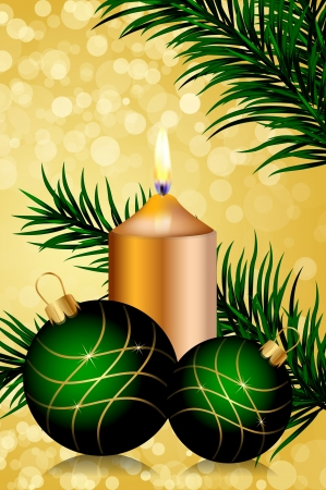 gold and green christmas background Stock Vector - 16196261