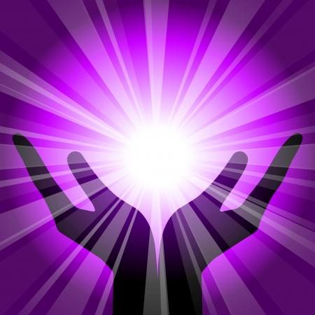 chakra: fond violet avec des mains