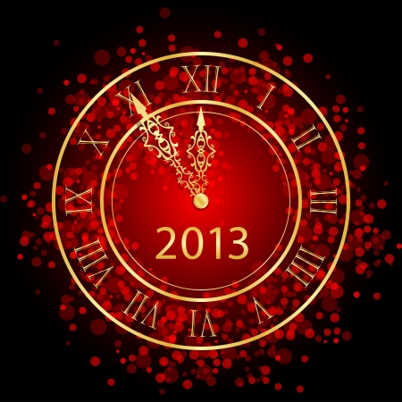 five years old: illustration of red and gold New Year clock Illustration