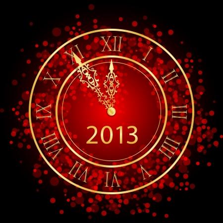 sylwester: Ilustracja z czerwonym i złotym zegarem New Year