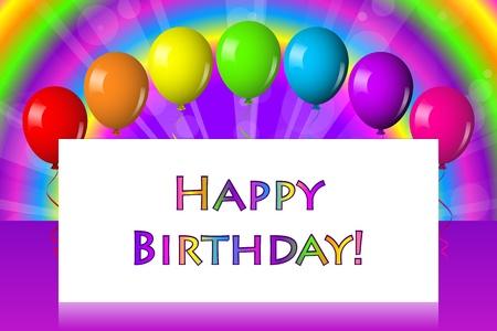 verjaardag frame: Happy birthday frame met ballonnen Stock Illustratie