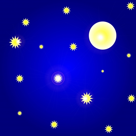 illustration of sky with moon and stars Stock Vector - 16196201