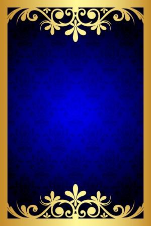 Vecteur bleu et or floral frame Vecteurs