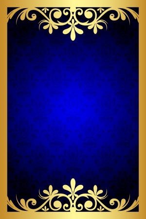 gold frame: Vector gold and blue floral frame